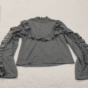 H&M grey turtleneck ruffle sweater 4 knit cozy